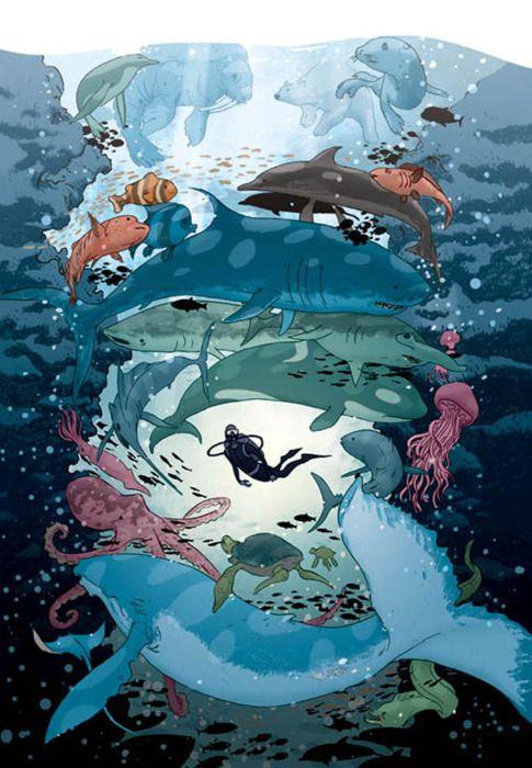 Beautiful aquatic illustration.