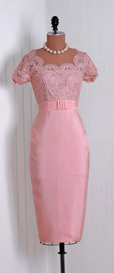 Pink Lace Prom Dress,Short Sleeve Bridesmaids Dress,Knee Length