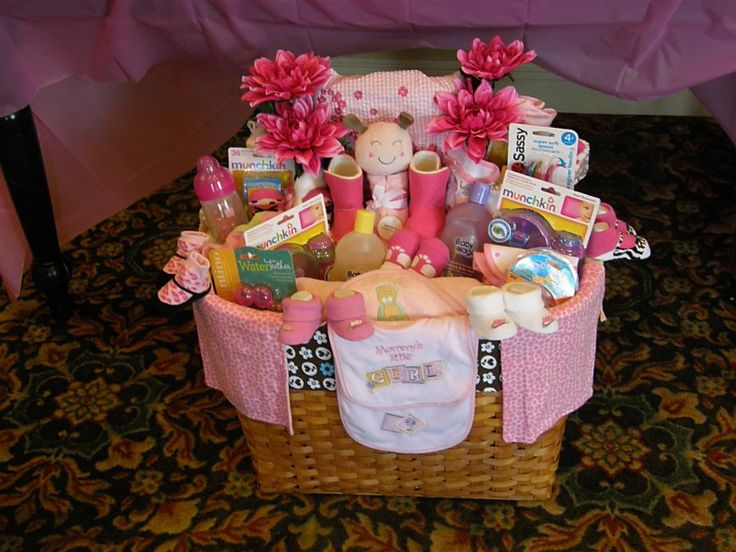Pinterest Ideas For Baby Gifts : Baby shower gift basket for a girl crafts