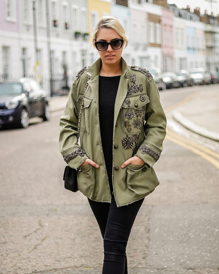 A bold street style look. Amber Le Bon wears the Fay embellished military jacket. Find your Fay look at store.fay.com.