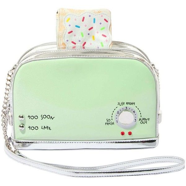 Betsey Johnson Kitsch A Toast to You Crossbody ($98) ❤ liked on Polyvore featuring bags, handbags, shoulder bags, mint green, betsey johnson, green handbags, cross-body handbag, green cross body purse and crossbody purse