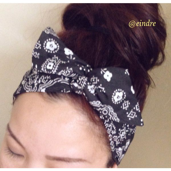 Black Paisley Bandana Dolly Bow Headband ($12) ❤ liked on Polyvore featuring accessories, hair accessories, bandana headband, paisley handkerchief, paisley bandana, wire headband and bow headband