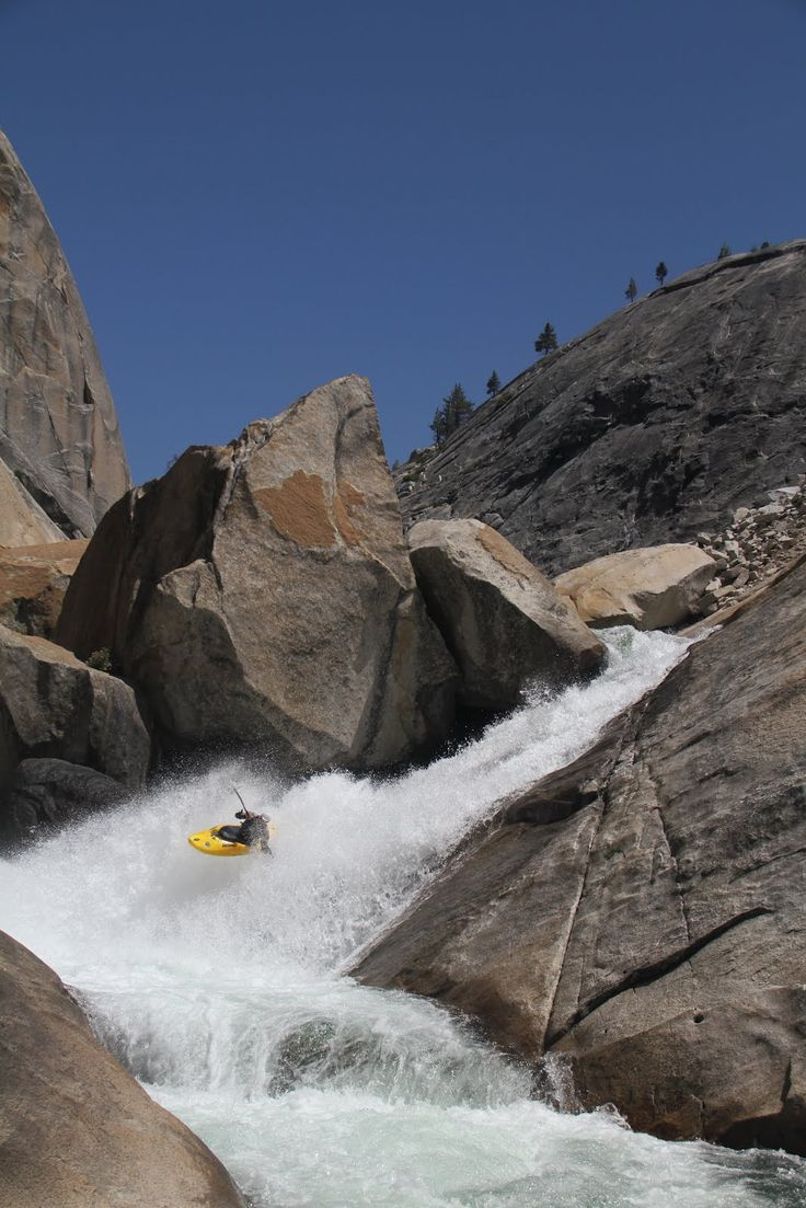 Cherry Bomb Falls, Northern CA- A 90* bend at the bottom means kayakers take the falls sideways!