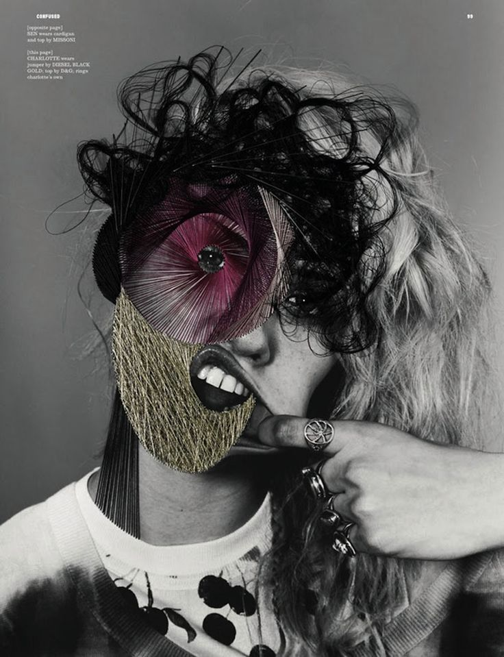 Photographer Richard Burbridge made a fashion fusion with thread artist Maurizio Anzeri for Dazed & Confused Magazine