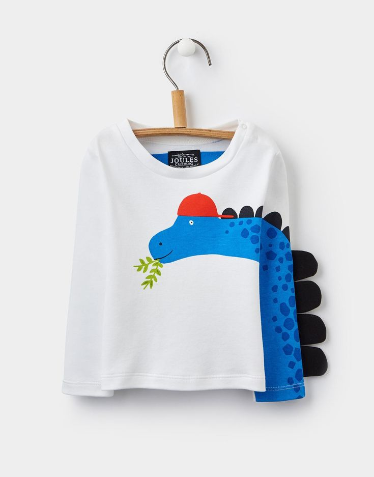 Zany Chalk Dino Novelty Sleeve Jersey Top | Joules UK