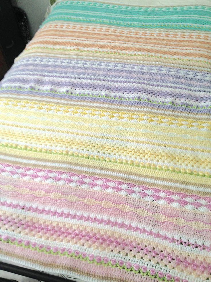 Handmade Crochet Blanket, Pastel Sampler Striped Throw by NoonansNook on Etsy