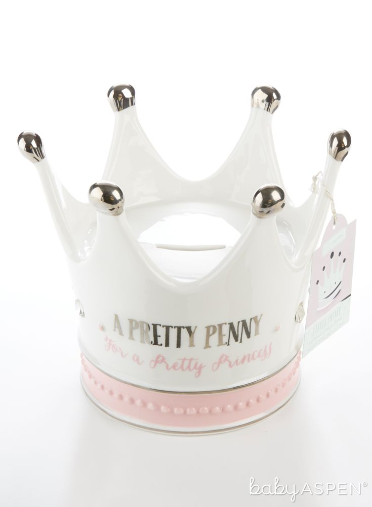 Little Princess Ceramic Crown Bank is just the thing to protect your baby's most precious investment! | Little Princess Ceramic Crown Bank | Baby Aspen