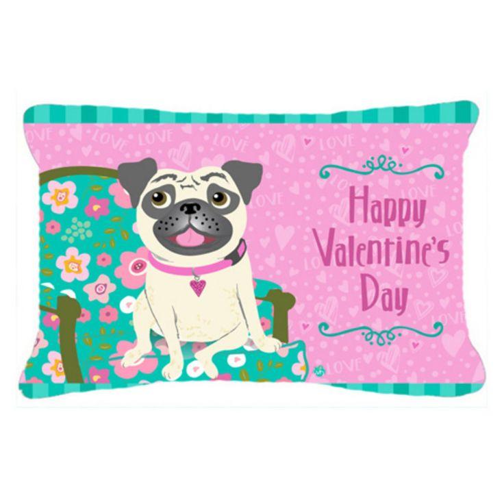 Carolines Treasures Happy Valentines Day Pug Decorative Outdoor Pillow - VHA3002PW1414