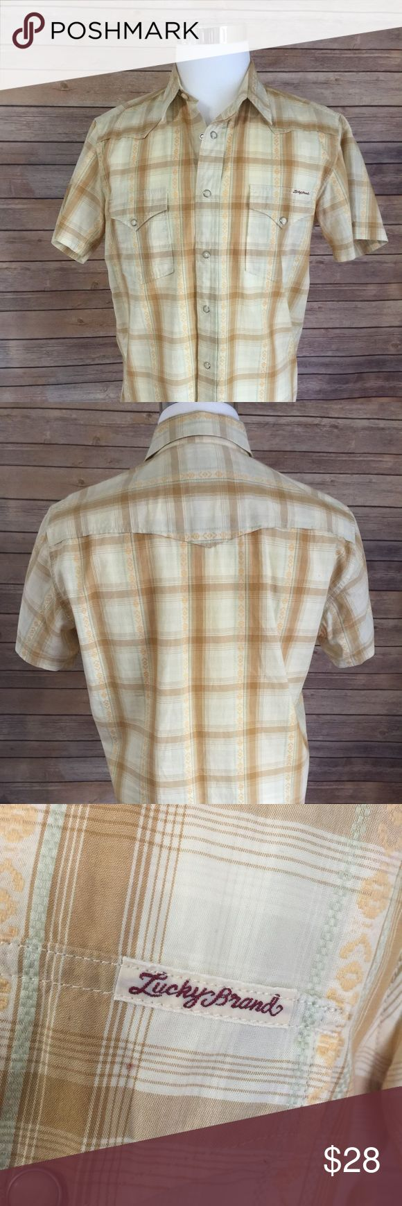 Lucky Brand Western Shirt Sz M Beige and Brown Short Sleeve Western Style Shirt With Snap Buttons Sz Medium Lucky Brand Like New condition 100% Cotton Lucky Brand Shirts Casual Button Down Shirts