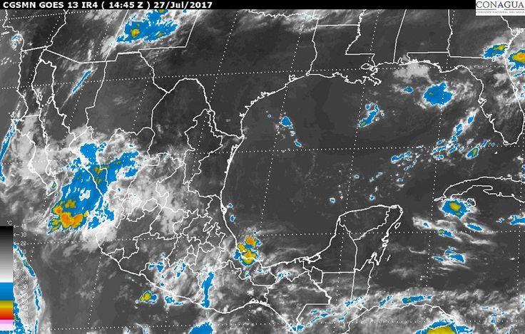 El pronóstico meteorológico para hoy es de tormentas muy fuertes en zonas de Sonora, Chihuahua, Nayarit y Veracruz, y de tormentas fuertes en regiones de Sinaloa, Durango, Zacatecas, Jalisco, Michoacán, ...