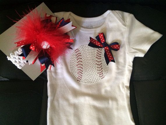 Hey, I found this really awesome Etsy listing at https://www.etsy.com/listing/190688852/baseball-onsie-and-bow