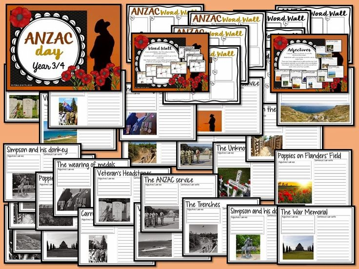 ANZAC Day - Year 3/4 pack Activities include: Reading tasks - What is ANZAC Day? 'The Ode' 'Flanders Fields', War Memorials, word finds, interviews, mapping, ANZAC biscuit recipe, symbols and songs. Loads of activities related to the focus area of days celebrated or commemorated in Australia.