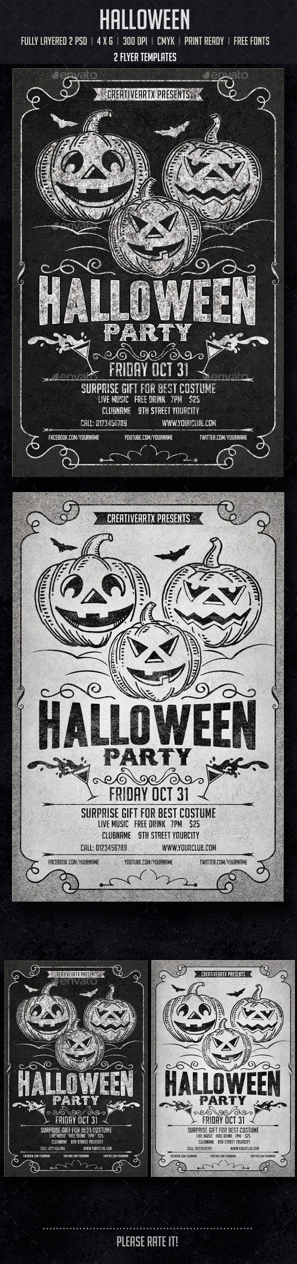 Halloween Flyer Template PSD | Buy and Download: http://graphicriver.net/item/halloween/8838178?WT.ac=category_thumb&WT.z_author=creativeartx&ref=ksioks
