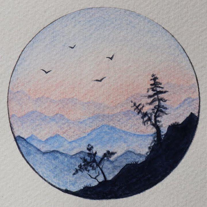 تعلم الرسم كيف ترسم منظر طبيعي سهل جدا بـ 3 الوان فقط رسم الوان مائيه منظر شروق Indie Drawings Art Drawings Simple Diy Art Painting