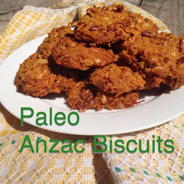 Paleo Anzac biscuits for Australia day - grain free, low in natural sugar and without oats! http://getrealliving.com.au