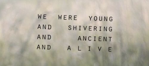 """We were young And shivering And ancient And alive"""