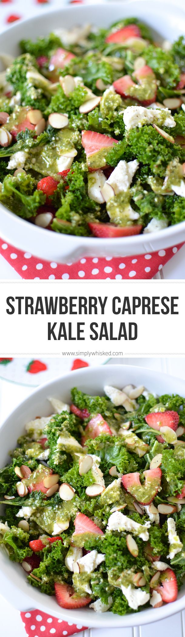 Strawberry Caprese Kale Salad | Summer salad recipes, mozzarella salad, basil vinaigrette | @simplywhisked