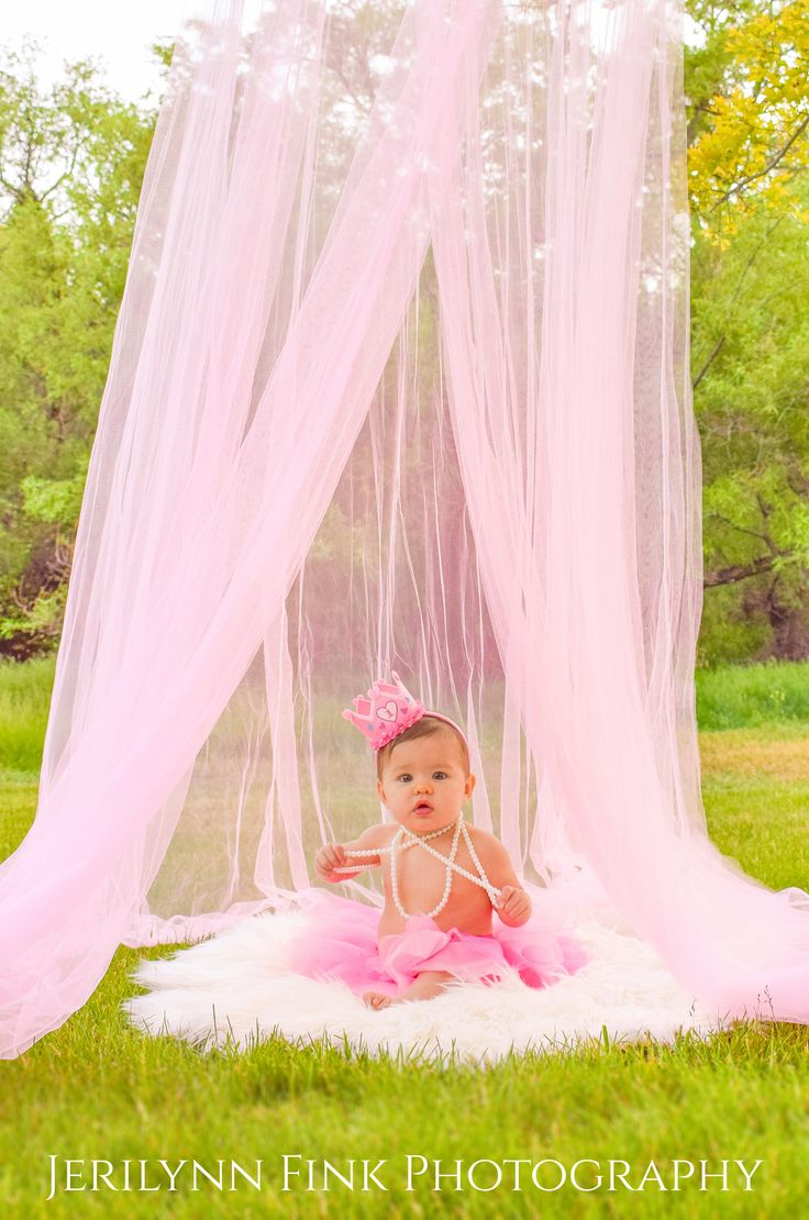 First birthday photoshoot. Used a pink canopy for