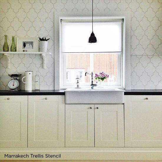 Stenciled kitchen backsplash using the Marrakech Trellis stencil from  Cutting Edge stencils. http:/