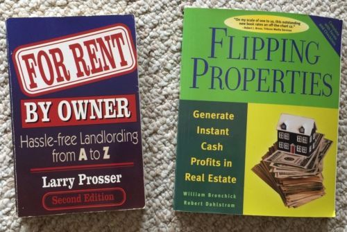 """Lot of 2 Softcover books;  (1) """"For Rent By Owner; Hassle-free Landlording from A to Z,"""" by Larry Prosser. In very good used condition, with some minor wear on cover.  (1) Flipping Properties; Generate Instant Cash Profits in Real Estate,"""" by William Bronchick and Robert Dahlstrom, In very good used condition.  2 books are in very good used condition, with no marks, tears, ghosting/edging, or stains."""
