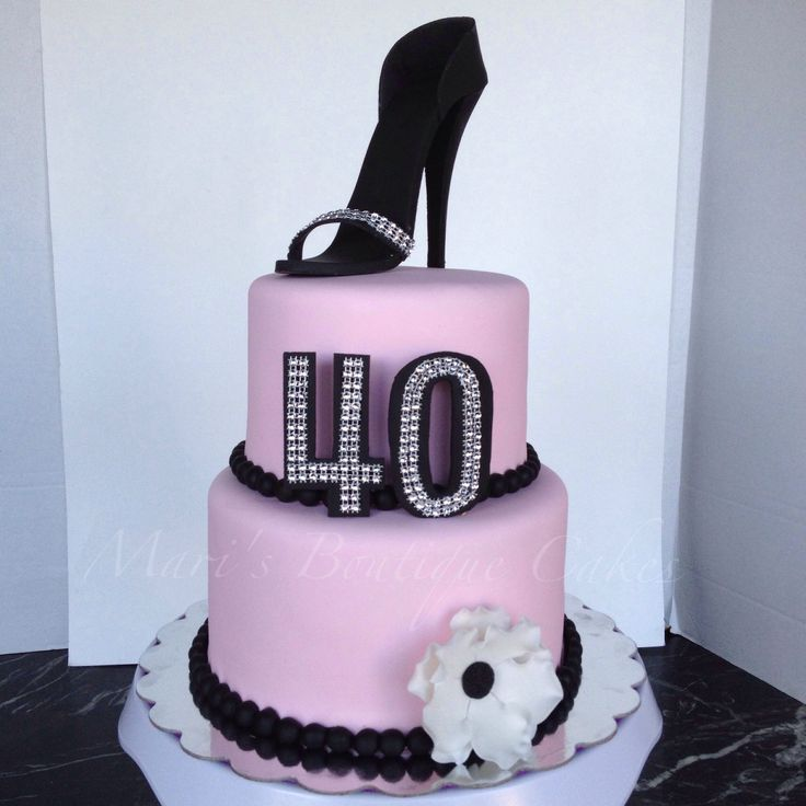 Pink and Black 40th Birthday Cake with Heel Topper - by Mari's Boutique Cakes