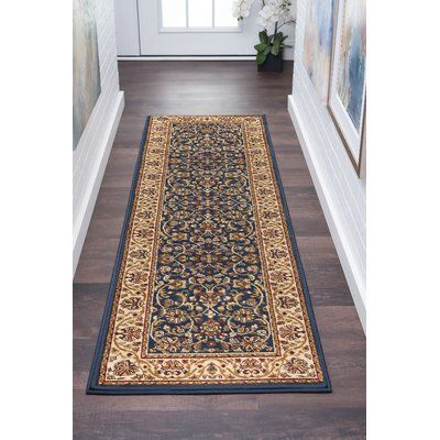Astoria Grand Clarence Navy Beige Gold Area Rug Rug Size 2 3 X 10 Rug Runner Rugs Blue Area Rugs