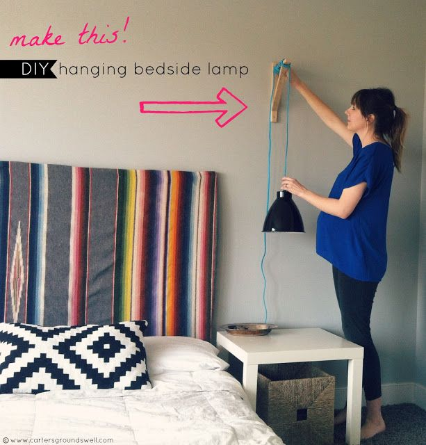 #DIY: hanging bedside lamp, no more knocking it over in the middle of the night or needing more table room(: