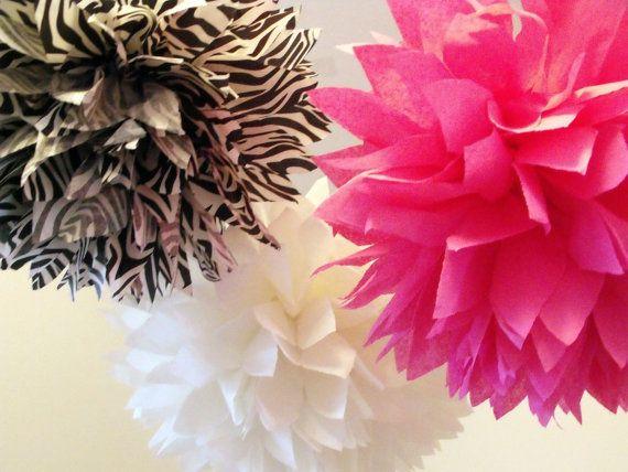 Valentine's Party Zebra Pom Poms :: by pomtree #Zebra