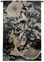 """Yozakura Asian Tapestry Wall Hanging - Ethnic Design, 33"""" X 53"""""""