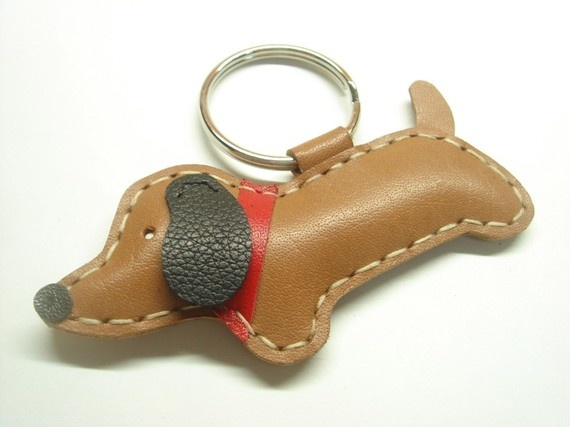 Jemma the dachshund Leather Keychain  Brown  by leatherprince, $18.90