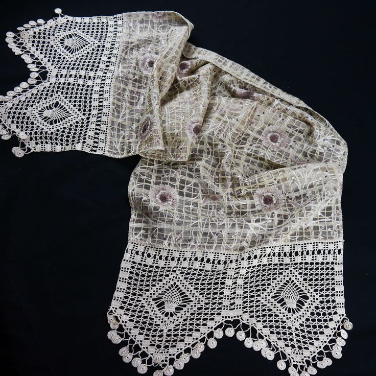 SILK TABLE RUNNER WITH EMBROIDERY AND HANDMADE LACE CROSHET 42