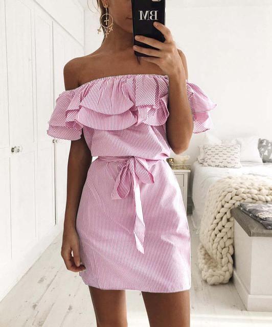 Summer Style Stripes off Shoulder Dress Ruffles Women Casual ukraine Beach Resort Sexy Boho Sash Pink Dresses