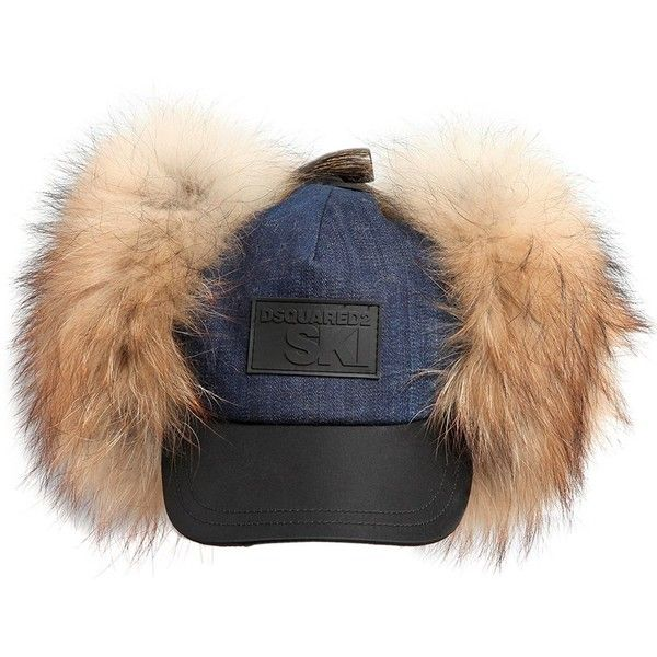 Dsquared2 Women Ski Denim Hat W/ Fur Earflaps ($525) ❤ liked on Polyvore featuring accessories, hats, fur ear flap hat, earflap hats, dsquared2, fur hat and denim hats