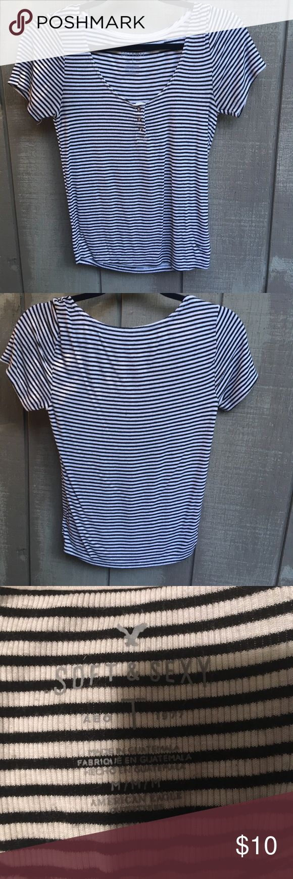 AE T Shirt Super cute soft & sexy American Eagle t shirt, black and white striped, 3 button front, size medium but can fit a small as well, small amount of pilling on the front but not noticeable American Eagle Outfitters Tops Tees - Short Sleeve