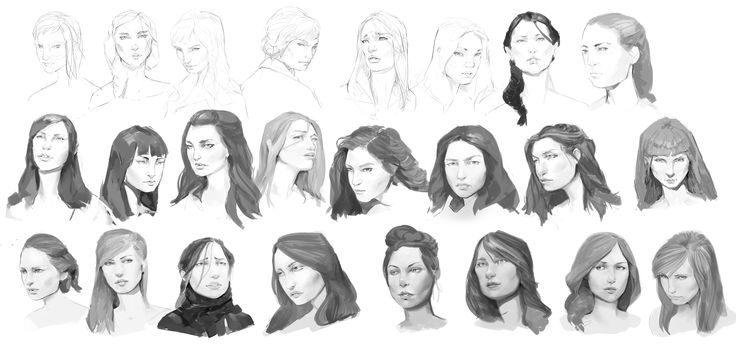 Practices women's faces. I hope you can see progress from top left to bottom right :)