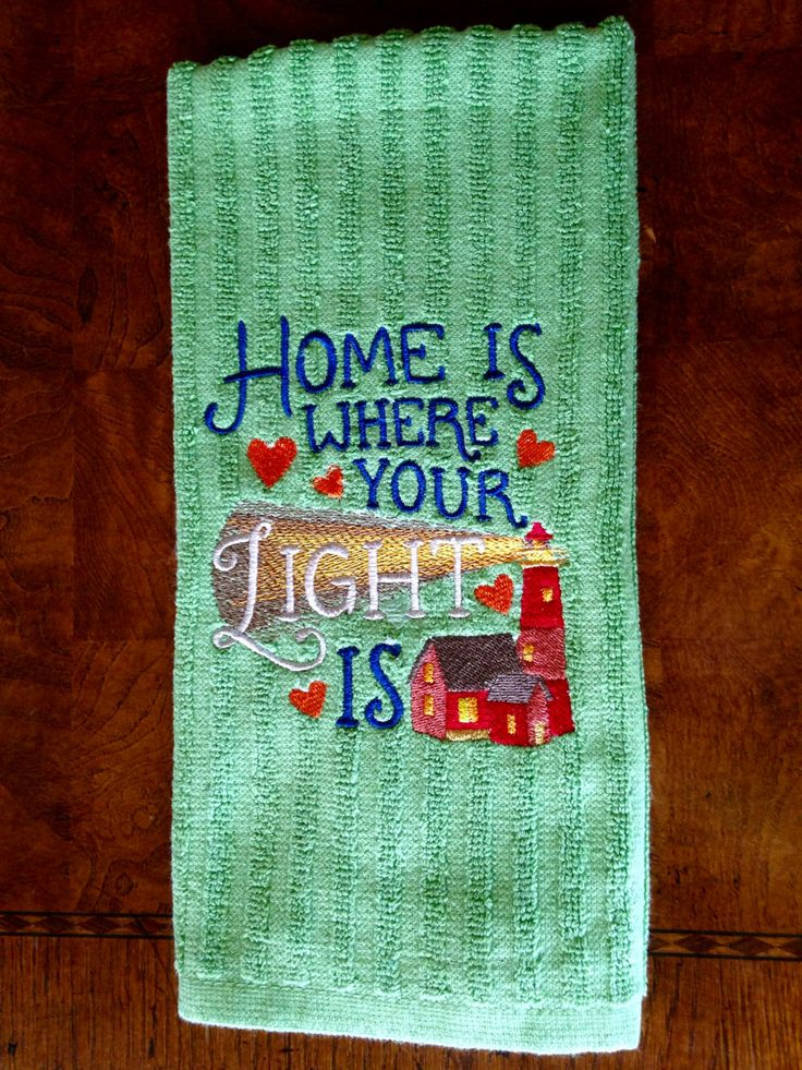Embroidered Lighthouse Kitchen Towel, Inspirational Tea Towel, Kitchen Towel,  Green Tea Towel,