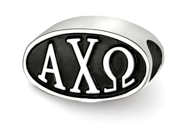 LogoArt Sterling Silver 15.25mm Alpha Chi Omega Oval Letters Bead Charm