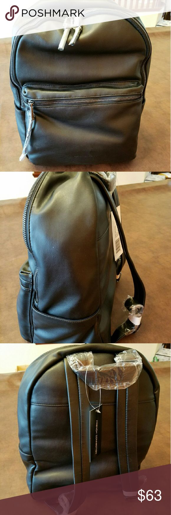 French connection Faux leather Back pack handbag Sleek Nwt French Connection Faux leather Backpack.  Medium sized.  Non-smoking home  Thanks for looking. French Connection Bags Backpacks