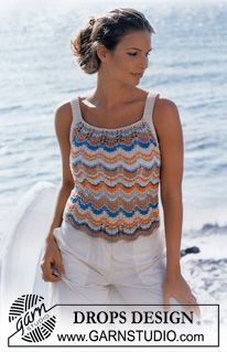 DROPS Top with a striped wave pattern. ~ DROPS Design