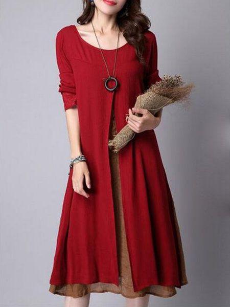 Shop Dresses - Linen Solid Asymmetric Casual Long Sleeve Dress online. Discover unique designers fashion at PopJuLia.com.