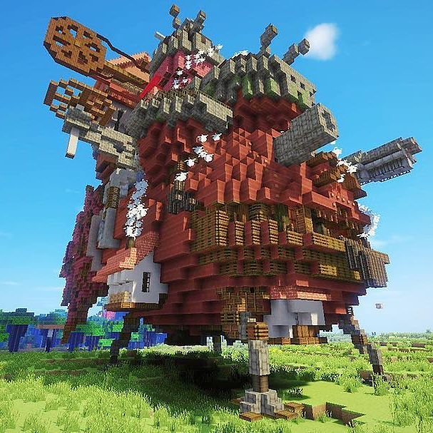 Calcifer just parked the castle for the rest of the day, so come visit him and maybe you'll see Howl and Sophie on play.ghiblicraft.com! #ghibli #server #minecraft #howlsmovingcastle #recreation #hayomiyazaki #studioghibli #ghiblicraftserver