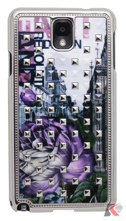 Samsung Galaxy Note 3 Gül Desenli Taşlı Rubber Kılıf