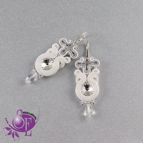 Wedding earrings - soutache earrings - white -silver by SzkatulkaEmi on Etsy