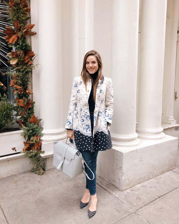 GMG Now Daily Look 1-19-18  Red Valentino jacket, J.Crew black turtleneck, J.Crew jeans, and more. http://now.galmeetsglam.com/2018/01/daily-look/861214/