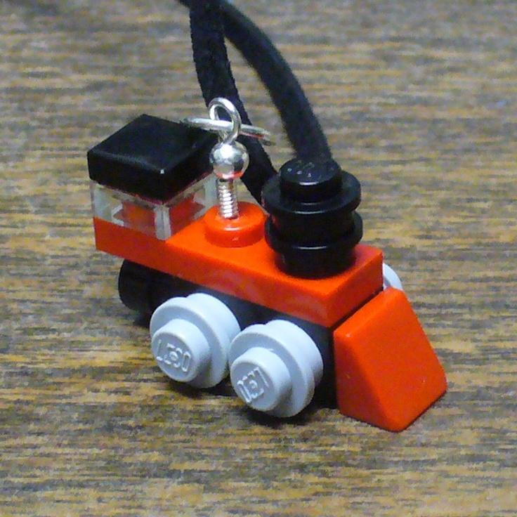 Red Mini LEGO Train Engine Necklace. $10.00, via Etsy.