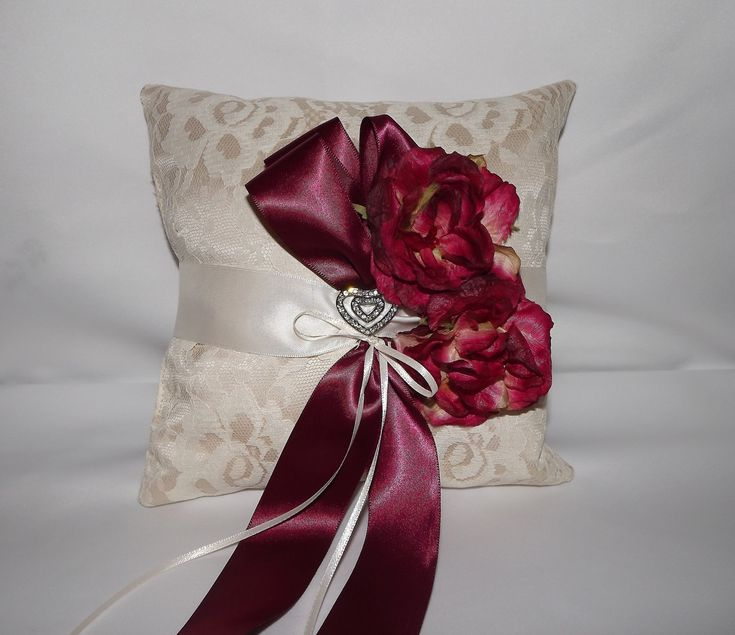 wine red ivoy and champagne wedding pillow | Lace Ring Bearer Wedding Pillow Champagne Wine n by Weddingzilla. for li wedding  cherry blossom