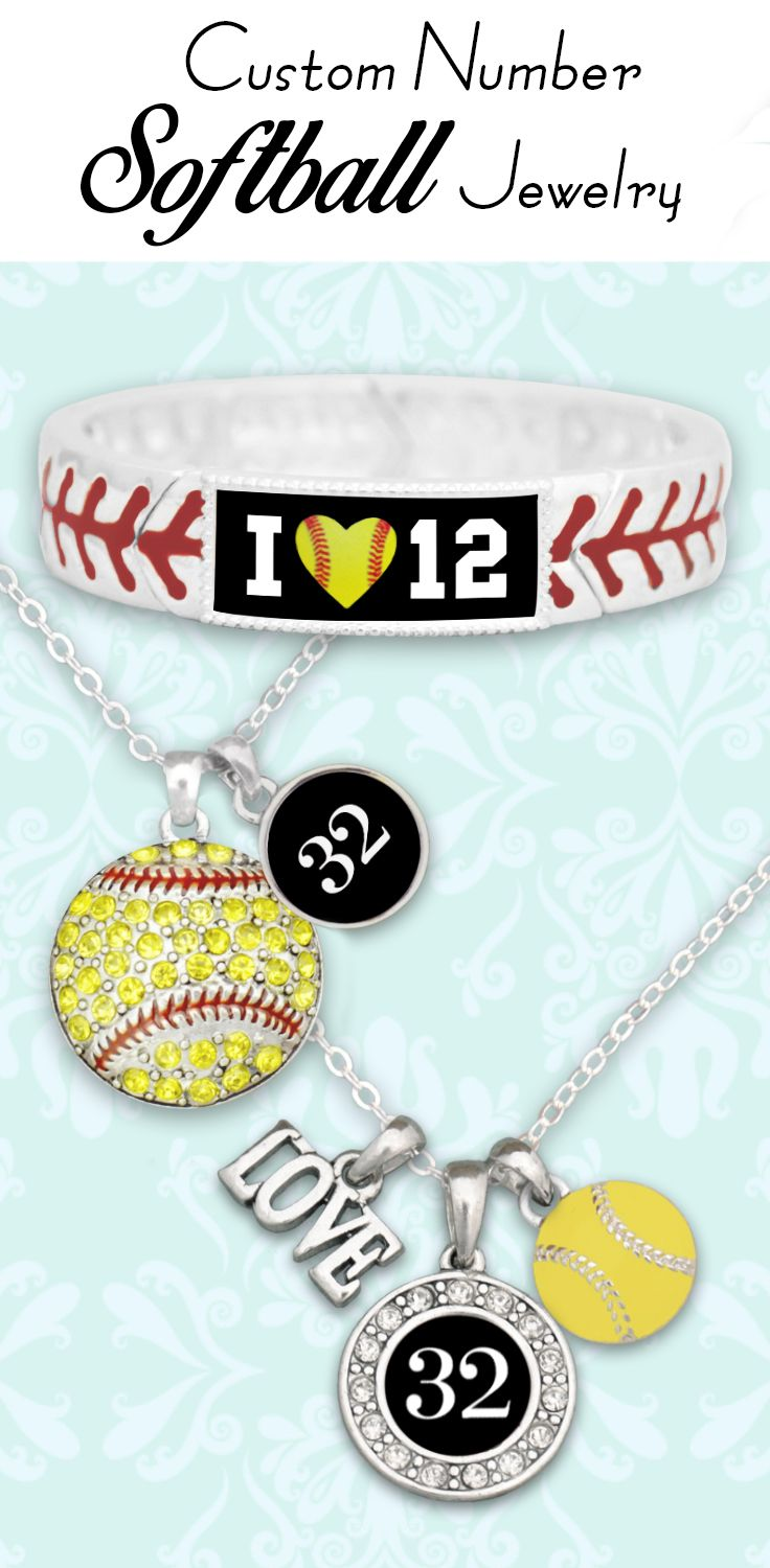 Softball jewelry with your favorite player's number, all for $9.98 // Great for team fundraisers and end-of-season gifts! Click to see our entire Softball Collection!