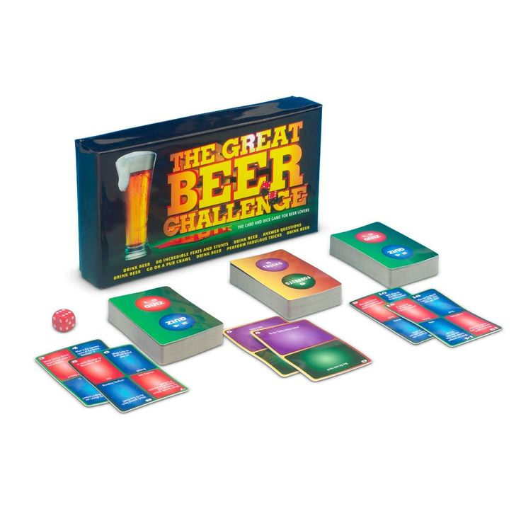 Sopii 2-8 pelaajalle tai tiimeille. Kolme olutkorttipakkaa, noppa ja englanninkieliset ohjeet.