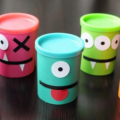 Party Favors for a MONSTER themed birthday party! I will use play doh cups (and just take the labels off)!