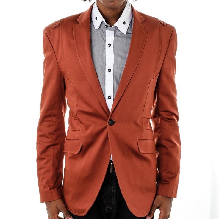 Slim Fit Blazer Brown red